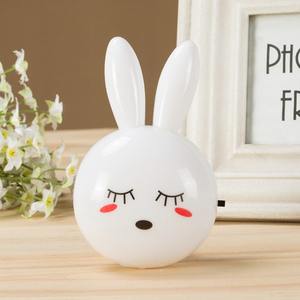 Image 4 - Cartoon Rabbit LED Night Light AC110 220V Switch Wall Night Lamp With US Plug Gifts For Kid/Baby/Children Bedroom Bedside Lamp