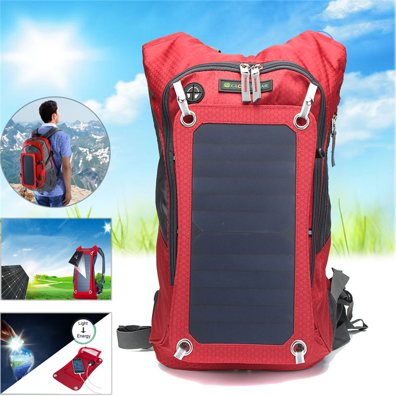 Outdoor Bags Solar Backpack Cycling Climbing Hiking Travel Solar Power Backpack with Solar Panel Climbing Bags Laptop Bag multifunctional professional handle pulley roller gear outdoor rock climbing tyrolean traverse crossing weight carriage fit