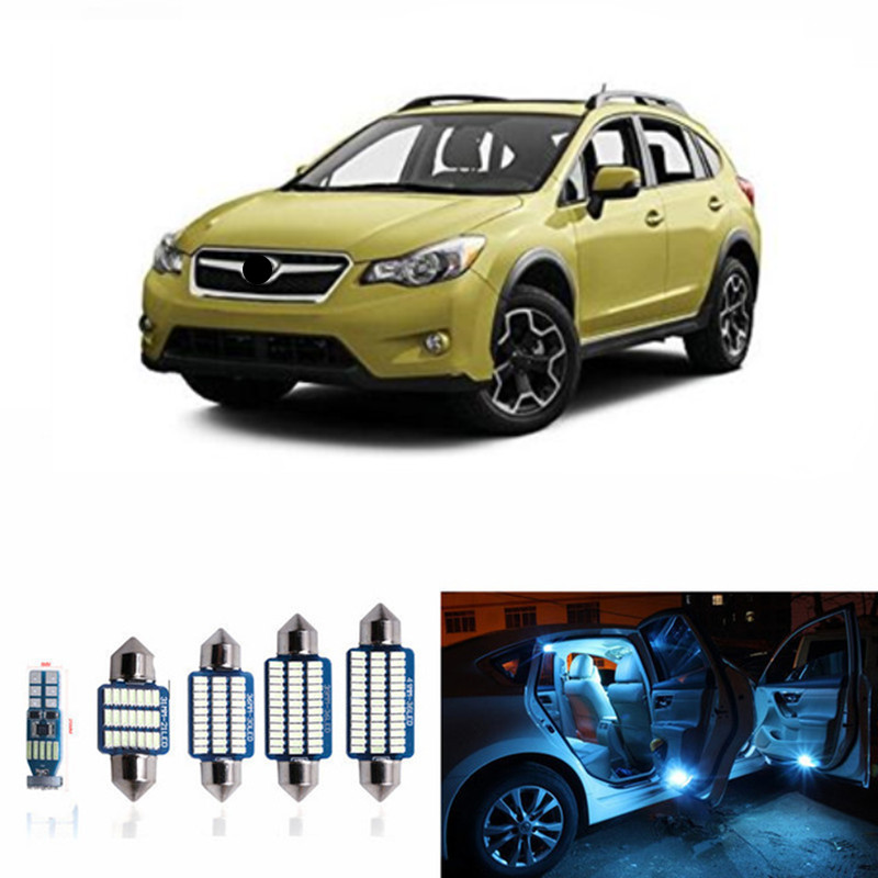 8pc Car LED Light Bulbs Interior kits For 2013-2015 Subaru XV Crosstrek Map Dome Trunk License Plate Lamp 12V Car Styling cawanerl car canbus led package kit 2835 smd white interior dome map cargo license plate light for audi tt tts 8j 2007 2012