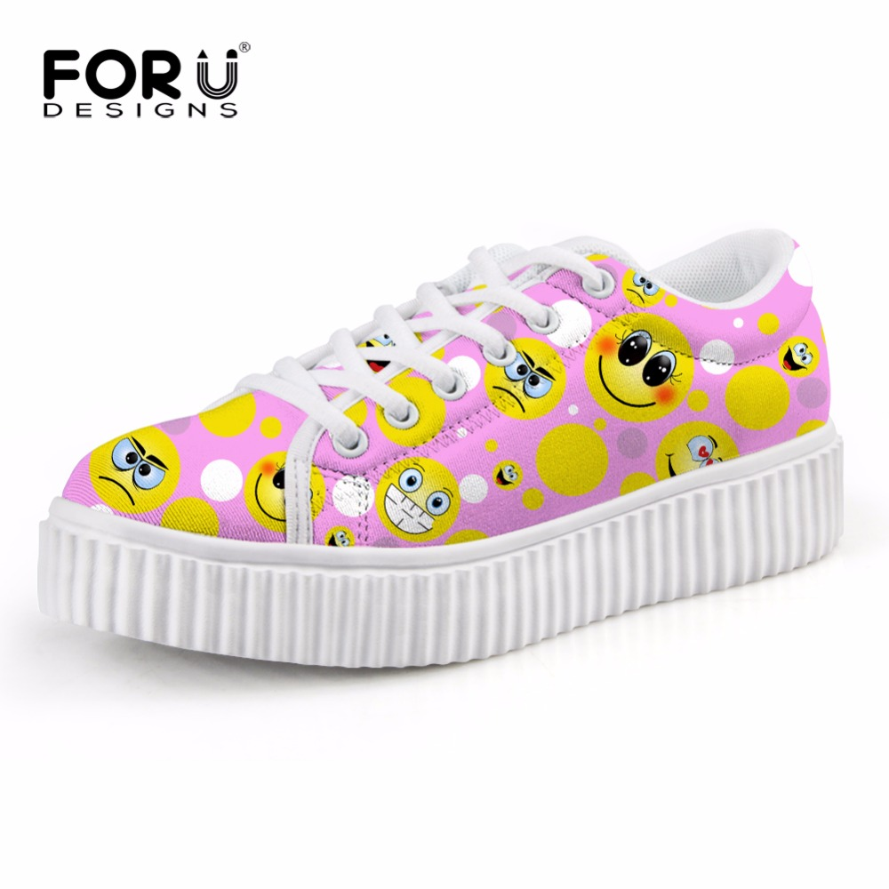 FORUDESIGNS Shoes Woman 2017 Autumn Women Casual Flat Platform Shoes Cute Cartoon Emoji Prints Low Wedge Shoes for Ladies Girl golden sequins shoes female loafer girl s fashion platform shoes women neon boat shoes woman flat low shoes autumn spring summer