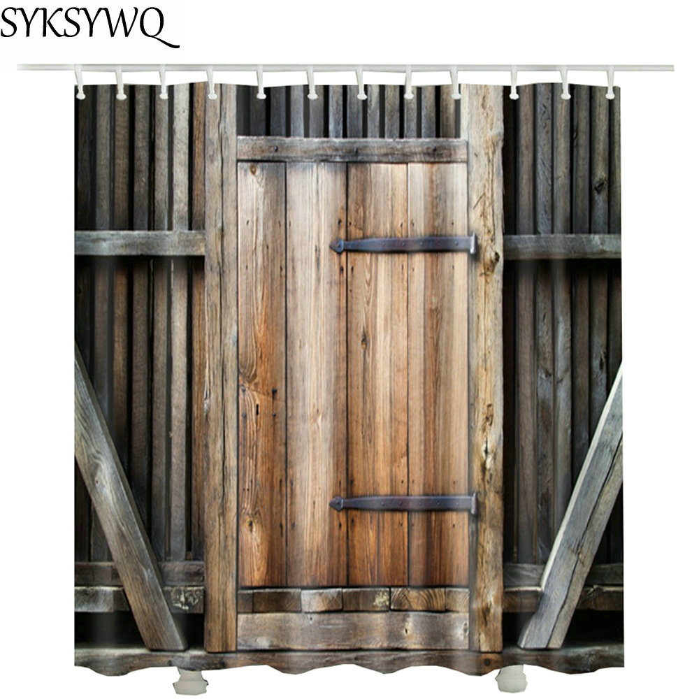 printed farmhouse decor wood door bathroom curtain hot sale waterproof polyester fabric drop shipping shower curtain