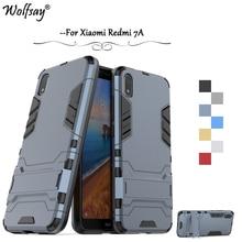 Xiaomi Redmi 7A Case Luxury Slim Armor Rubber Hard Phone For Back Cover Kickstand Fundas *