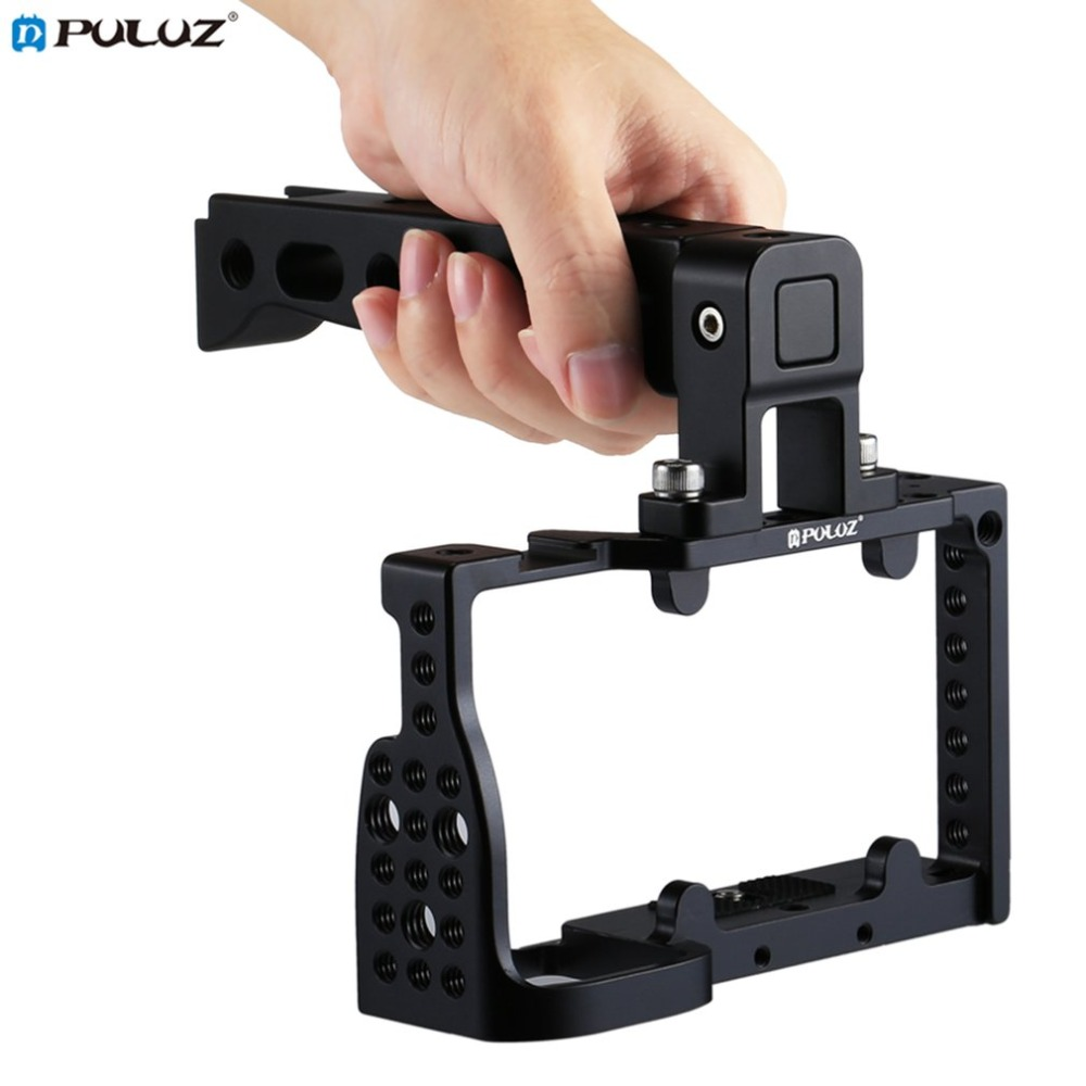 PULUZ Professional Aluminum Alloy Video Camera Cage Handle Stabilizer Movie Making Steadycam for Sony A6300/ A6000 цена и фото