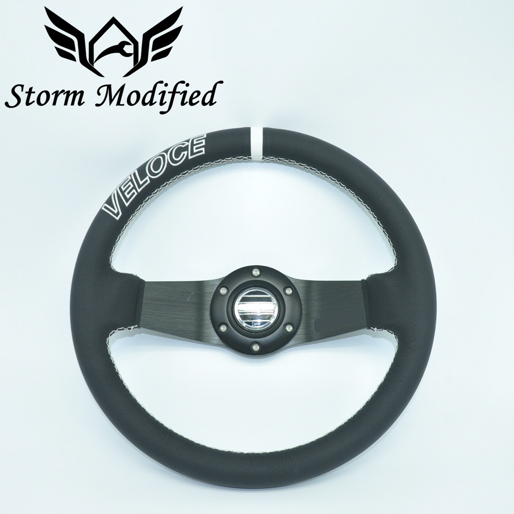 SuTong High Quality Universal Fits SPCO Racing Sport 320mm PU Leather Deep Dish Alloy Steering Wheel 5163