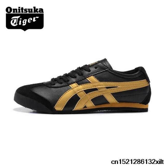 ONITSUKA TIGER zapatos de hombre México 66 Oro Negro Blanco cuero goma  antideslizante mujeres Zapatillas Zapatos 5c60533d55f
