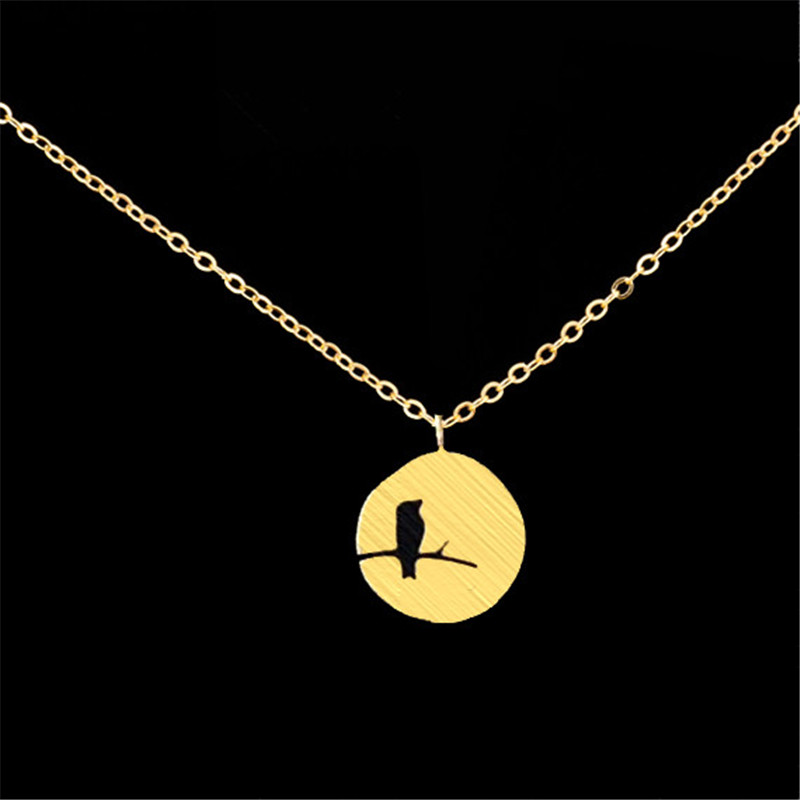 new trendy cute tiny Bird On a Branch pendant Choker Necklace women child jewelry fashion pretty charm delicate christmas gift