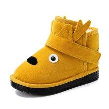 Дети Снегоступы мультфильм олень Ботильоны для детей Обувь для девочек Обувь для мальчиков зимние сапоги маленьких Обувь плюшевые Мех желтый Размеры 21- 37