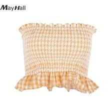 MayHall Cotton Orange Plaid Ruffles Female Tube Tops Elastic Backless Summer Cropped Skinny Tank ropa mujer verano MH290