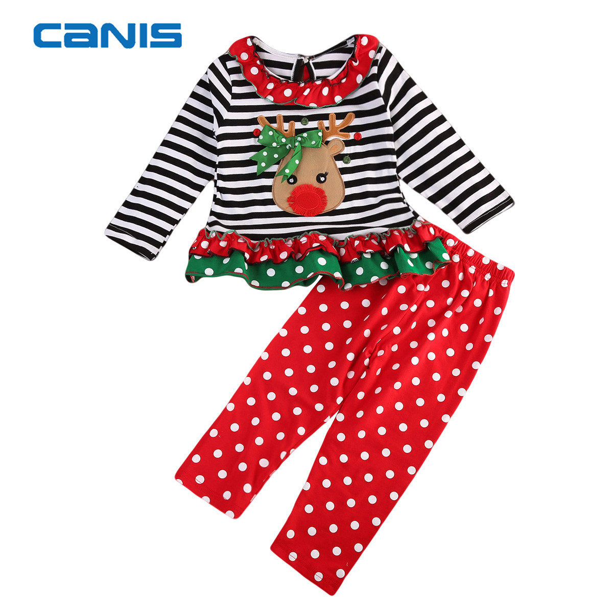 2017 Brand New Toddler Infant Child Kids Baby Girls Christmas Long Sleeve Tops Pants 2Pcs Santa Sets Adorable Outfits 0-5T микрофон пушка zoom sgh6 для zoom h5 h6