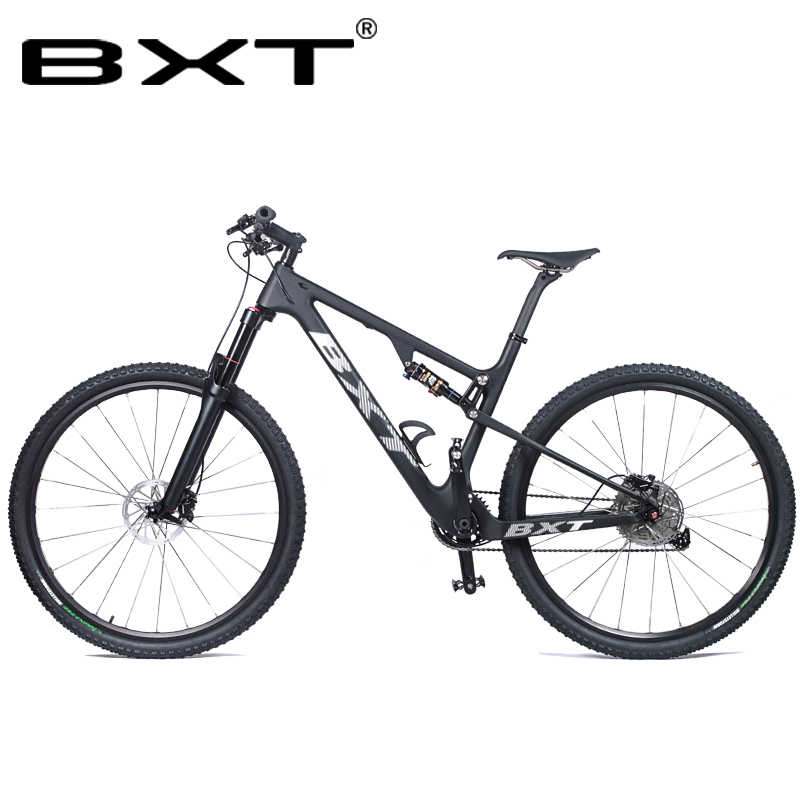 BXT New Full Suspension Carbon Mountain 29er MTB Bike Frame BSA 142X12mm 148*12mm Suspension Frame Travel 100mm Free Shipping