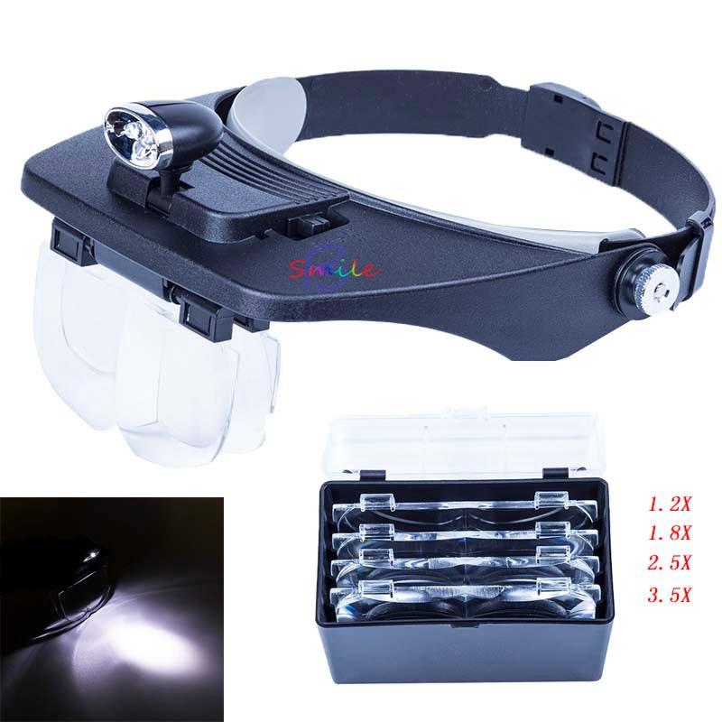 1 set Third Hand Dentist Magnifying Glass Read Repair Jewelry Loupe Headband LED Lamp Magnifier Eyewear1.2X 1.8X 2.5X 3.5X