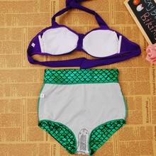 Plus Size Women Bikini Vintage High Waist Swimwear Fish Scale Print
