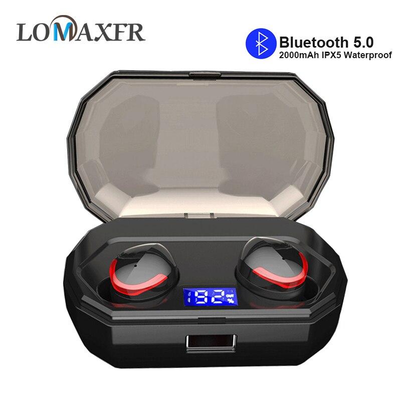 TWS蓝牙耳塞式无线耳机耳机防水运动耳机带液晶屏充电盒适用于Iphone Android R10 wavefun xpods 3