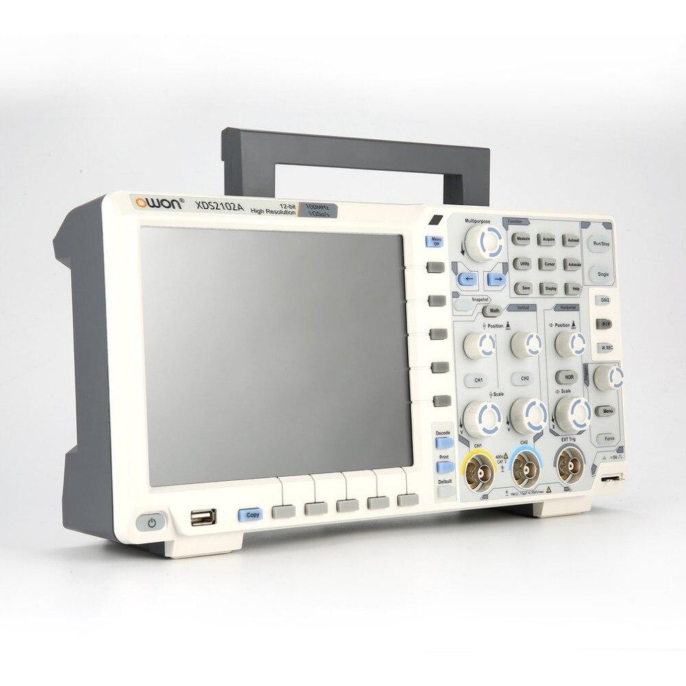 OWON XDS2102A Dual Channel Display LCD Profonda Memoria Oscilloscopio a memoria Digitale Scopemeter Ambito Meter 100 MHz 1GSa/s