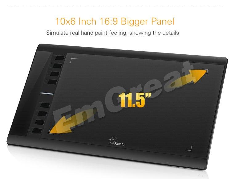 parblo a610 цифровой графика рисунок планшеты 2048 уровень ручка + противообрастающих перчатки