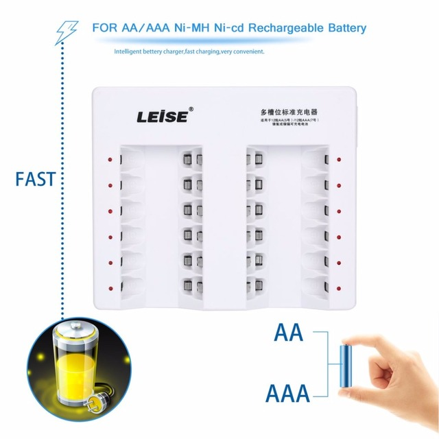 LEISE 12 Slots Smart Rechargeable Battery Charger Set Adapter For AA/AAA Ni-MH Nicd 12PCS 2200mAh AA Batteries