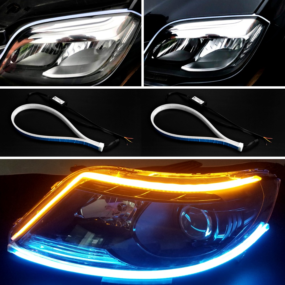 2pcs Car styling Car Headlight Strip Tear Strip Car Daytime Running Lights Turn Signal Lamp LED DRL Strip Running Day Light in Car Light Assembly from Automobiles Motorcycles