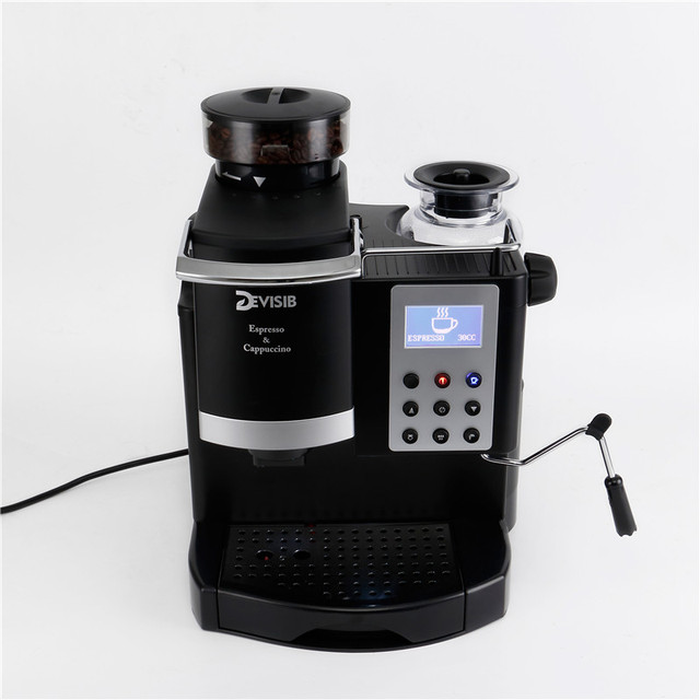 DEVISIB Professional All-in-One Espresso Coffee Machine Americano Maker with Bean Grinder and Milk Frother Become Barista Easily 5