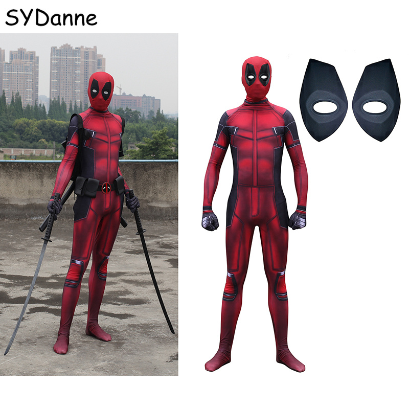 Movie Deadpool Cosplay Costume Superhero Bodysuit Suit Customized Jumpsuit Mask Cosplay Deadpool For Adult Kids Men Party