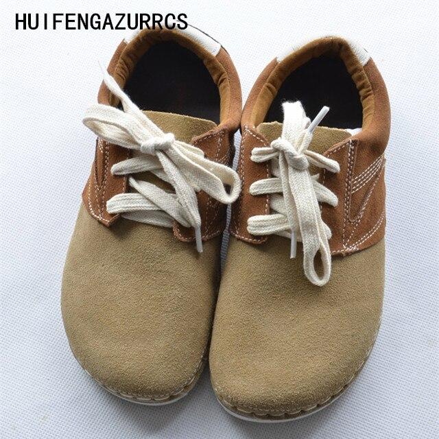 HUIFENGAZURRCS-Spring original art shoes,Cowhide round head shoes,Pure handmade casual shoes,Women retro flat shoes,2 colors huifengazurrcs head layer cowhide pure