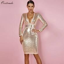 Ocstrade Gold Bandage Dresses for Women New Party Sexy Winter 2018 Long  Sleeve Bandage Dress Sequin Deep v Neck Bandage Dress f1f20ea0e9bb