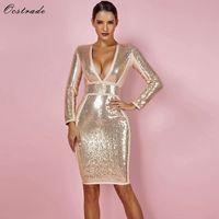Ocstrade Gold Bandage Dresses for Women New Party Sexy Winter 2018 Long Sleeve Bandage Dress Sequin Deep v Neck Bandage Dress