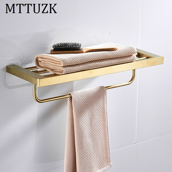 MTTUZK 304 Stainless Steel Brushed Gold Towel Rack  Bath Towel Holder Towel bar  Bathroom Shelves Bathroom Double Towel Rack