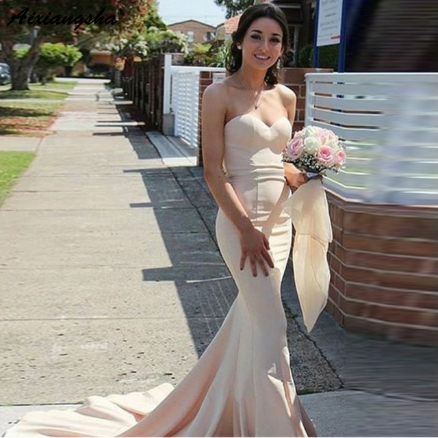 Simple Mermaid Prom Long Elegant Dresses vestido de fiesta Evening Gown Sweetheart Sweep Train Ivory Elastic Satin Prom Dress