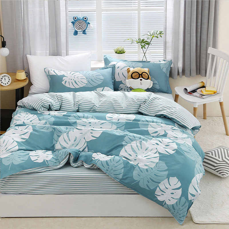 Palm Leaf 4pcs Girl Boy Kid Bed Cover Set Duvet Cover Adult Child Bed Sheets And Pillowcases Comforter Bedding Set 2TJ-61020
