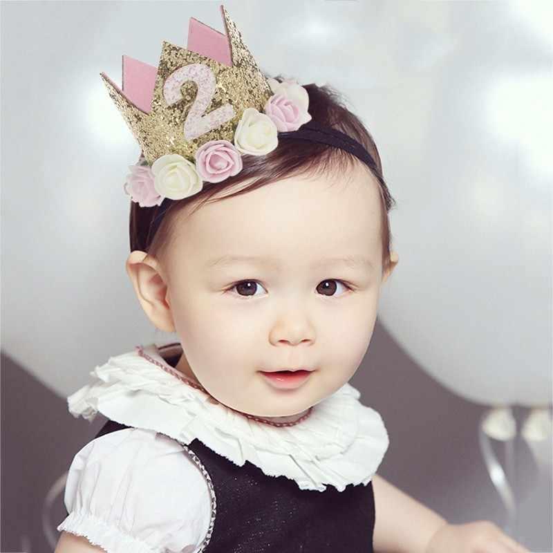 สาววันเกิด 1st ดอกไม้มงกุฎหนึ่ง 2nd สามปีจำนวนเจ้าหญิงสีชมพูหมวกเด็กอุปกรณ์เสริมผม