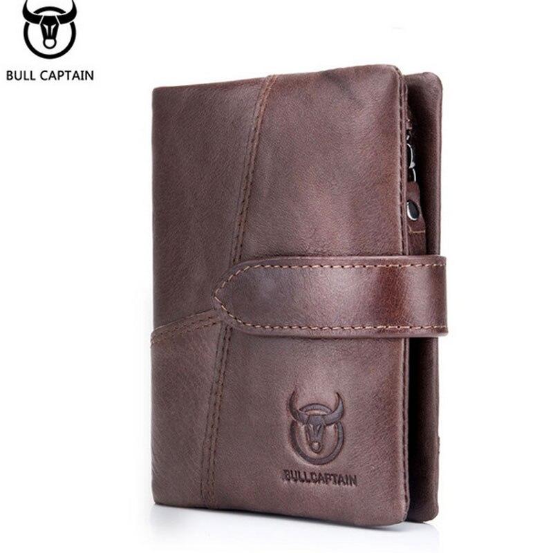 BULLCAPTAIN Cowhide Zipper Clutch Wallet Cash Coin Pocket
