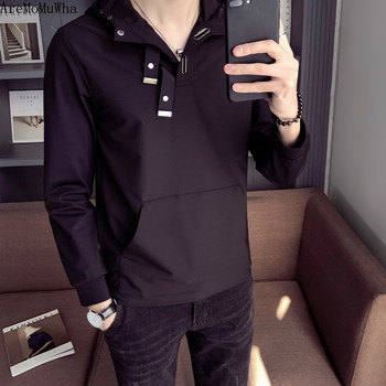 AreMoMuWha Spring and Autumn New Men's Hooded 2019 Personality Solid Color Set Handsome Black Jacket Japanese Loose Hoodie QX900