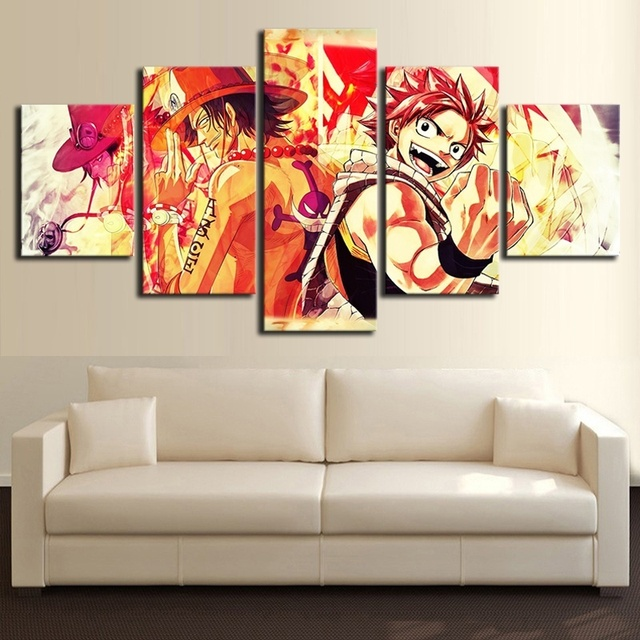 Canvas Painting Prints Home 5 Panel Anime One Piece Portgas D Ace And Fairy Tail Wall Art Modular Pictures Poster