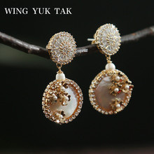 wing yuk tak Luxury Jewelry Fashion Flower Handmade Freshwater Pearl Drop Earrings for Women Party Wedding