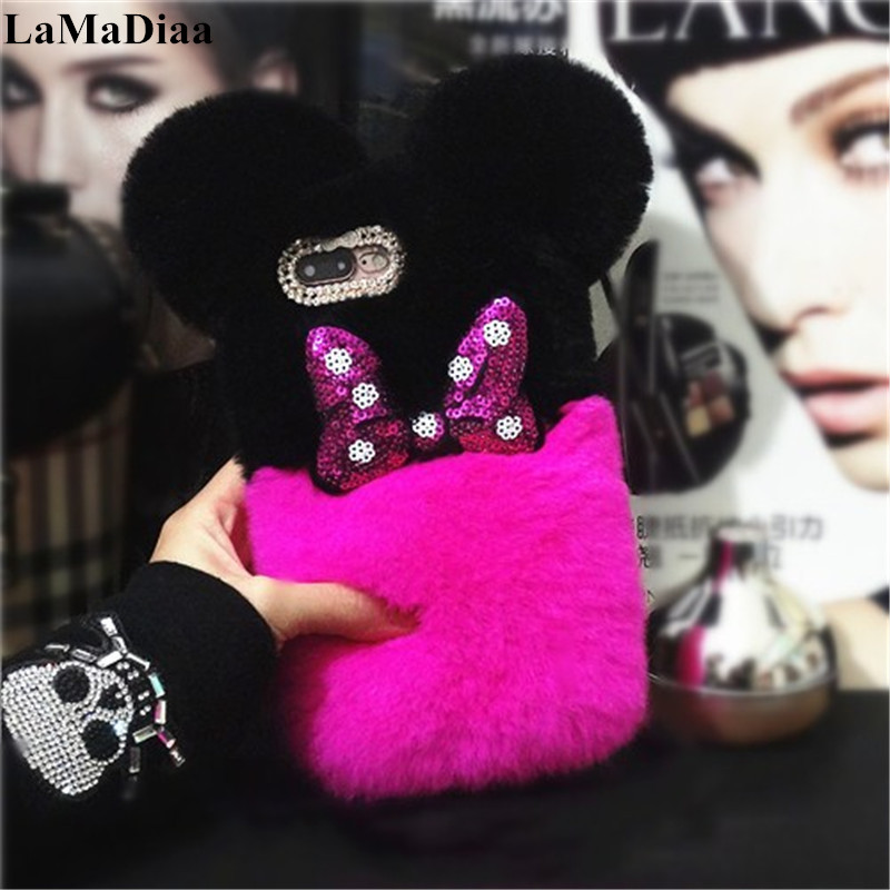 Lovely Warm Case For Samsung Galaxy J3 J5 J6 J7 J8 A8 A7 A5 2016 2017 2018 Luxury Fluffy Plush Rabbit Fur Hair Ball Back cover