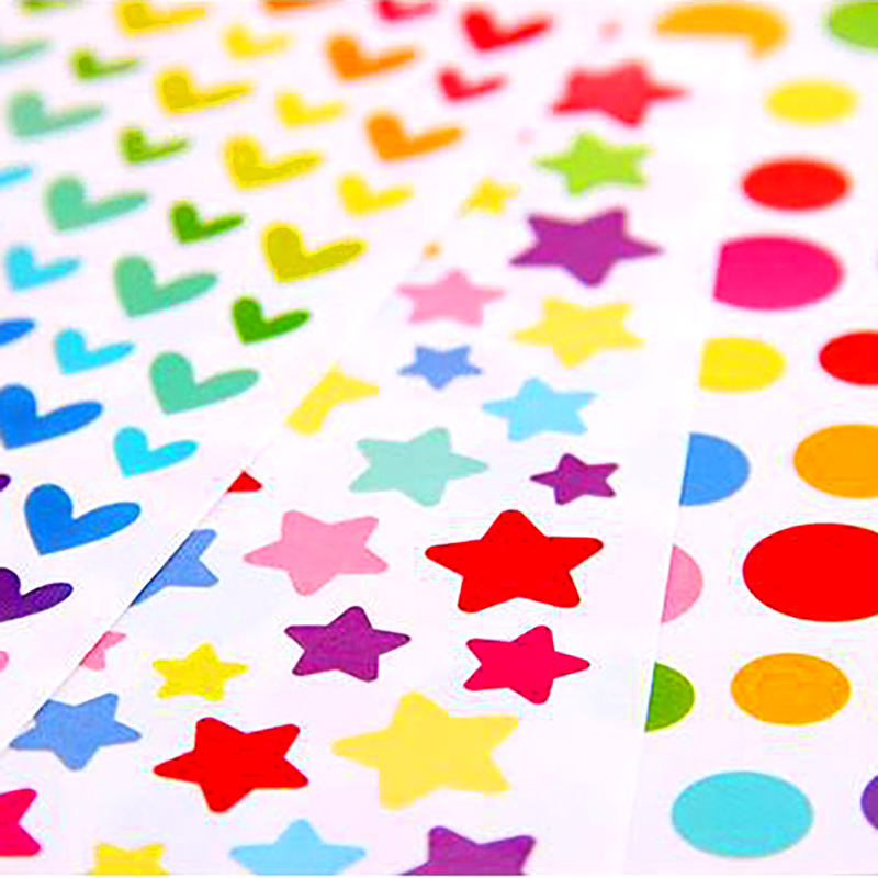 6 Sheets/pack High Quality New Colorful Star Heart Round Shape School Teacher * Merit Praise Reward Children Kids Toys Stickers
