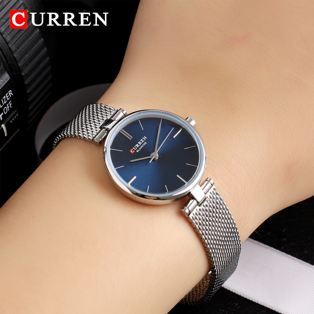 2018 Luxury Brand CURREN Watches Women Fashion Quartz Watch Ladies Mesh Stainless Steel Clock Female Wristwatch Relogio Feminino