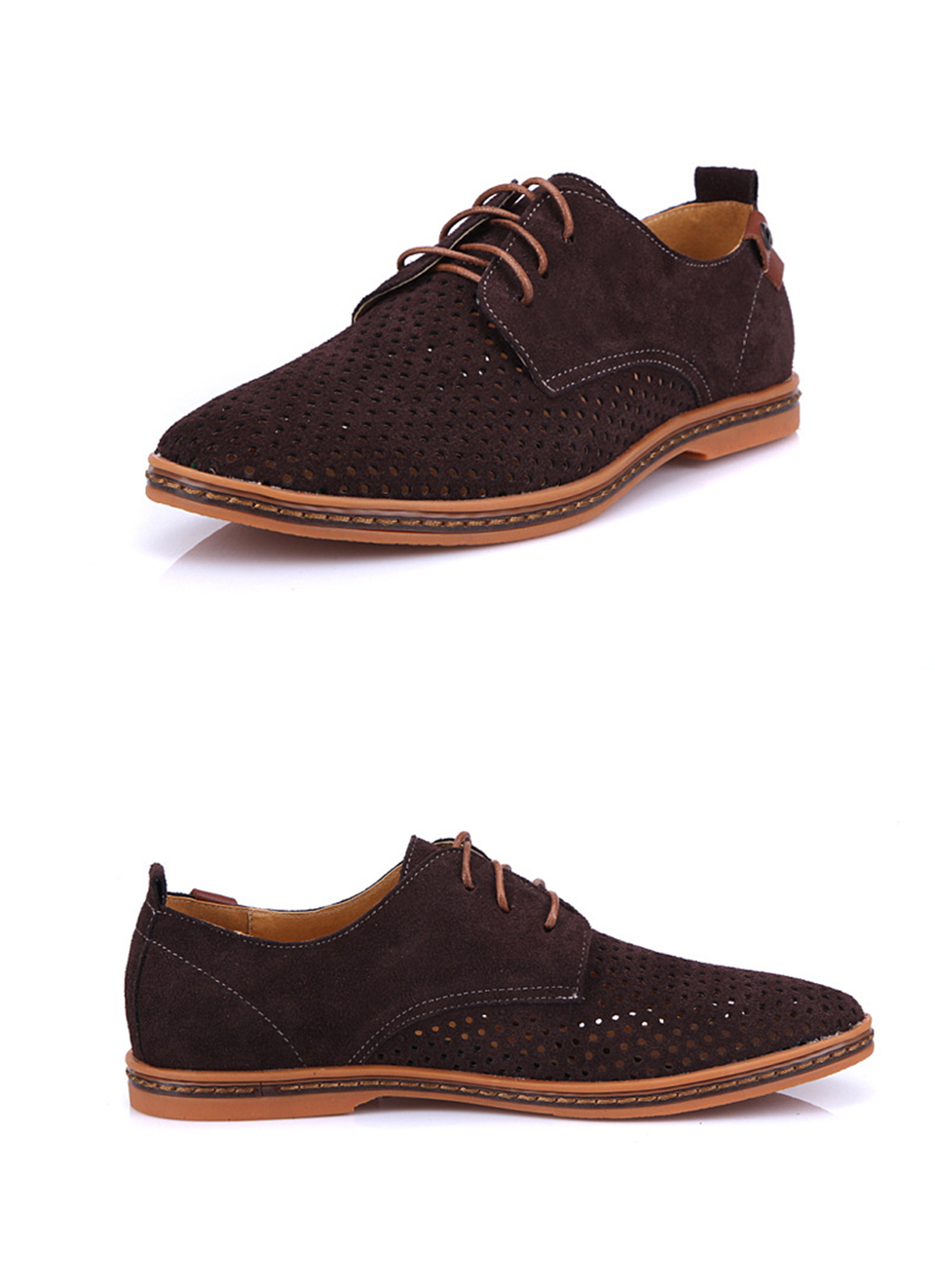 6ab920bed9 PACNETO Luxury Brand Hollow Suede Shoes Men Casual Lace Up Flats ...