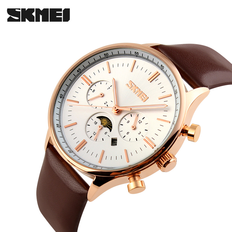 Hot quartz wristwatch mens 2018 luxury brand casual business watches dual time big dial cowhide watch simple relogio masculino