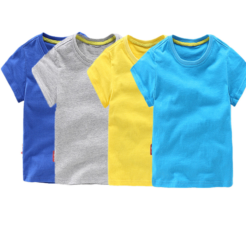 Baby boys girls summer casual t shirt short sleeve solid for One color t shirt