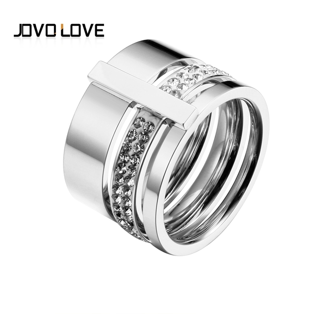 Trendy Brand Three Layers 316L Stainless Steel Crystal Rings For Women Rings Jew