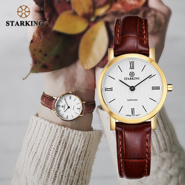 Starking relógio feminino slim de 6mm, relógio de aço inoxidável de quartzo, moderno, vintage