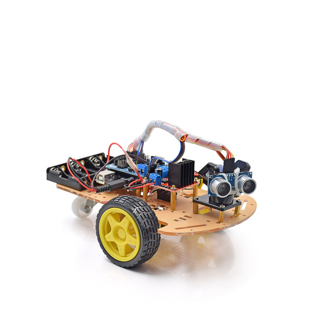 New Avoidance tracking Motor Smart Robot Car Chassis Kit Speed Encoder Battery Box 2WD Ultrasonic module with tutorial CD