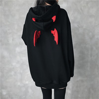 Autumn Winter High Street Harajuku Hoodie Cute Hoodies Women Punk Gothic Girls Devil Horn Chic Hooded Pullover Loose Sweatshirt