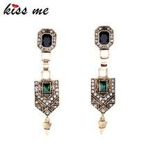 KISS ME Vintage Jewelry Women New Green Crystal Cone Ear Pendants Long Drop font b Earrings