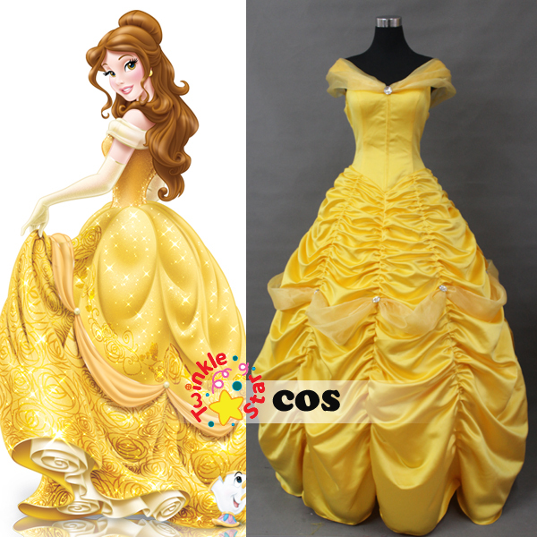 Cartoon Princess Belle Beauty And The Beast Cosplay Costumes Adult Costume Yellow Dress