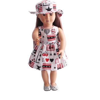 ملابس دمى فستان مطبوع + قبعة ملحقات لعبة 18 بوصة فتاة دمية و 43 سنتيمتر طفل دمية C217
