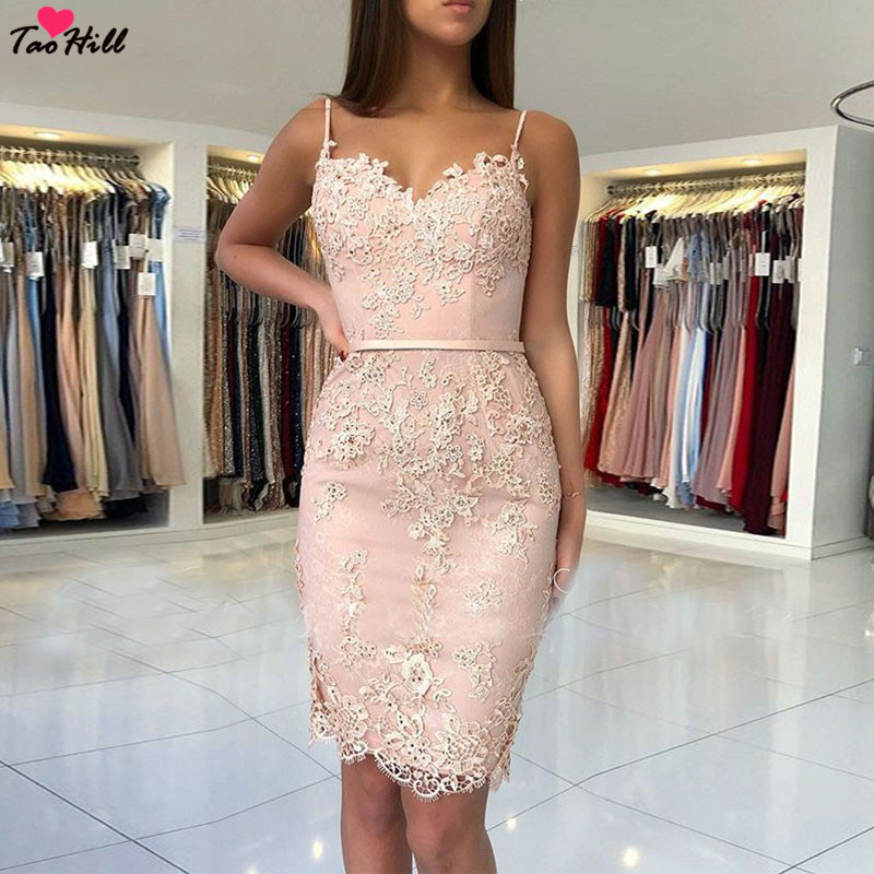 TaoHill Hot New 2019 Spaghetti Sweetheart Neck Lace Applique Beaded Pink Lace Fashion Party   Cocktail     Dresses
