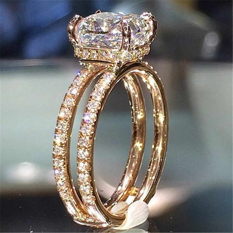 ZORCVENS Big White Cubic Zircon Wedding Jewelry Luxury Gold Color Two layers Crown engagement Ring for Woman Dropshipping