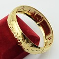 Womens Can't Open Bangle top Gold Plated Bracelet Big Bangle Ethiopian Dubai Style Jewelry 19mm Wide DIA.65MM